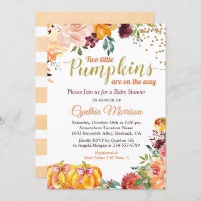 Two Little Pumpkins Autumn Twin Girl Baby Shower Invitation