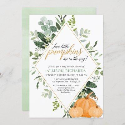 Two little pumpkins Fall twins baby shower Invitation