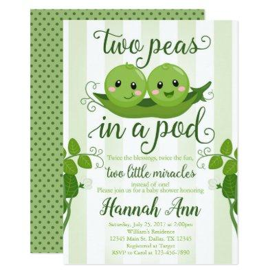 Two Peas in a Pod Baby Shower Invitation Sweet Pea