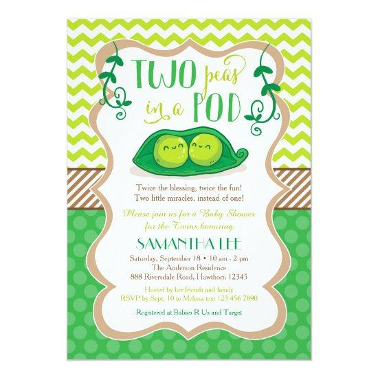 Two Peas In A Pod Baby Shower Twins Invitations Baby Shower