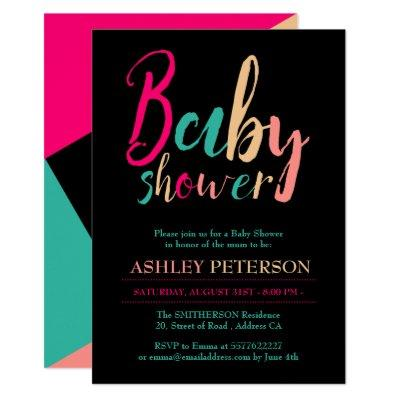 Typography geometric color block baby shower invitation
