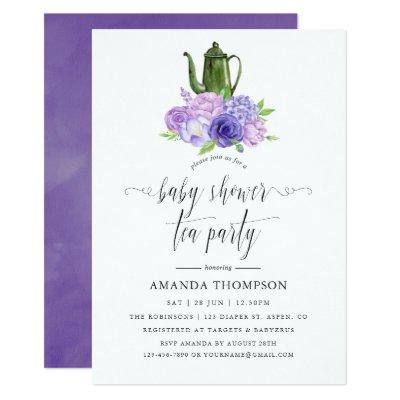 Ultra Violet Floral Baby Shower Tea Party Invitation