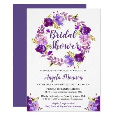 Ultra Violet Purple Floral Wreath Bridal Shower Invitations