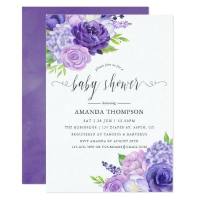 Ultra Violet Watercolor Floral Baby Shower Invitation