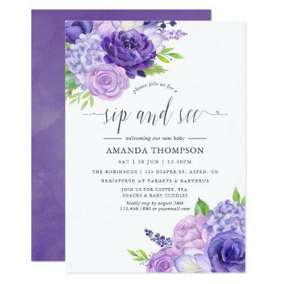 Ultra Violet Watercolor Floral Sip and See Invitation