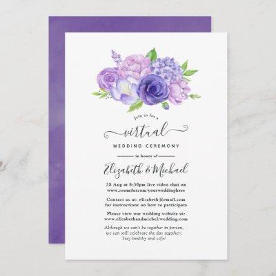 Ultra Violet Watercolor Floral Virtual Wedding Invitation