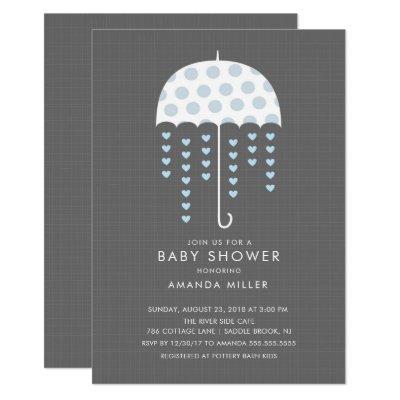 Umbrella Baby Boy Shower Invitation