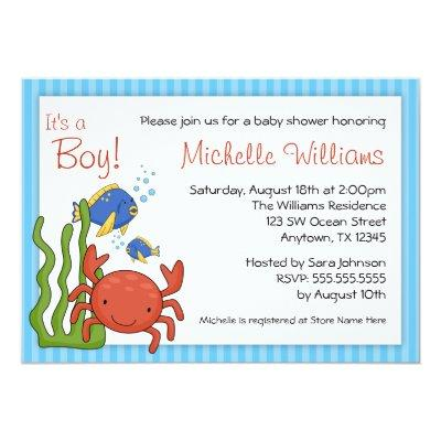 Under the Sea Blue Stripes Boy Baby Shower Invitations