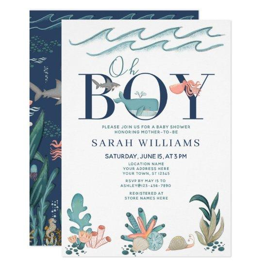 Under the Sea Blue Watercolor Oh Boy Baby Shower Invitation