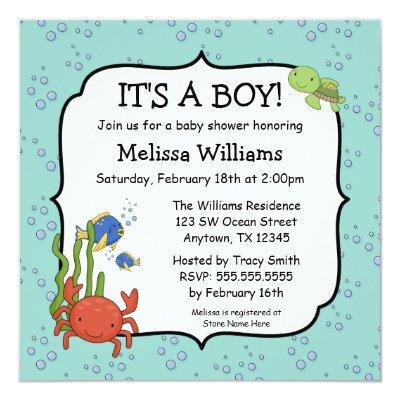Under the Sea Bubbles Boy Invitations