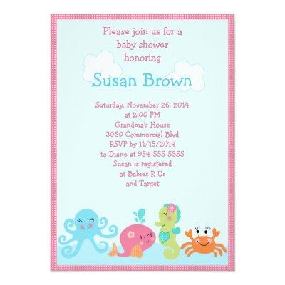 Under the Sea life/Girl Baby Shower Invitations 2