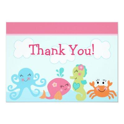 Under the Sea life/Girl Baby Shower Thank You Invitations