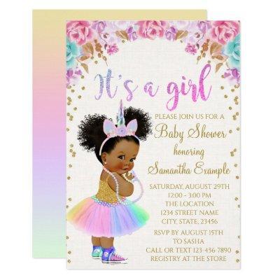 Unicorn African American Princess Baby Shower In Invitation
