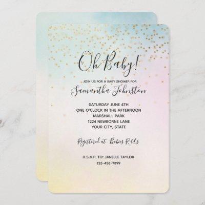 Unicorn Aqua Pink Yellow Tie Dye Gold Confetti Invitation