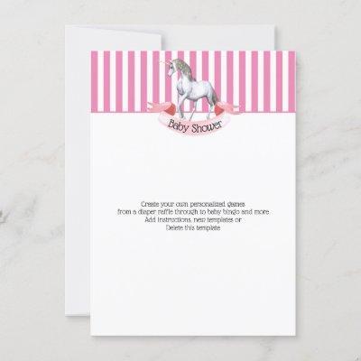 Unicorn baby shower diaper raffle games invitation