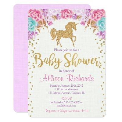 Unicorn Invitations pink and gold
