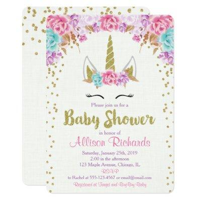 Unicorn baby shower Invitations pink and gold