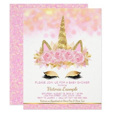 Unicorn Baby Shower Invitations Pink Gold Unicorn