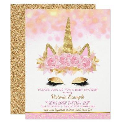 Unicorn Baby Shower Pink Gold Unicorn Face Invitation