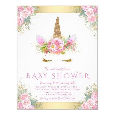 Unicorn Face Baby Girl Shower Invitations