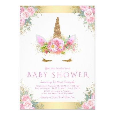 Unicorn Face Baby Shower Invitations