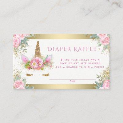 Unicorn Face Diaper Raffle Tickets Enclosure Card