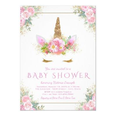 Unicorn Face Unicorn Baby Shower Invitations