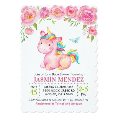 Unicorn Floral Pink Girl Baby Shower Sprinkle Invitation