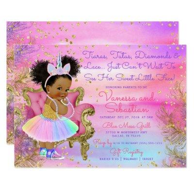 Unicorn Princess African American Glitter Gems Invitation