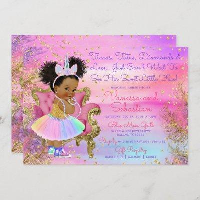 Unicorn Princess African American Glitter Gems Invitation
