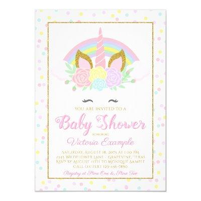 Unicorn Rainbow Baby Girl Shower Invitations