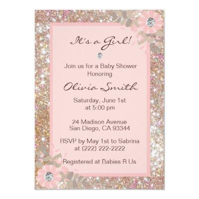 Unique Baby Shower Invitations Girls - Pink,Brown