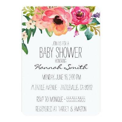 Unique Boho Floral Baby Shower Invitations