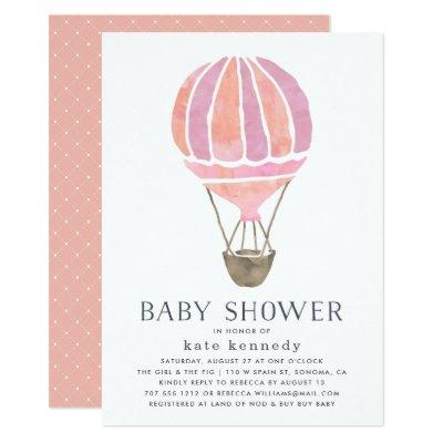 Up in the Air Baby Shower Invitation | Pink