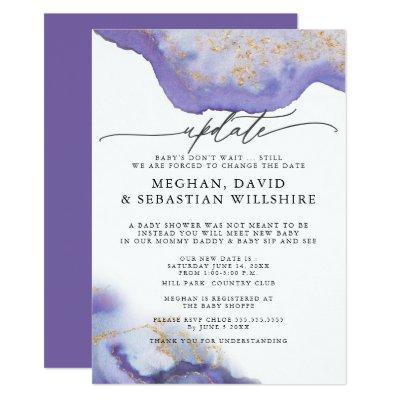 Update Baby Shower Amethyst Watercolor Geode Invitation