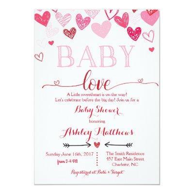 Valentines Day Baby Shower Invitations