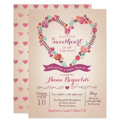 Valentine's Sweet Heart Baby Shower Invitations