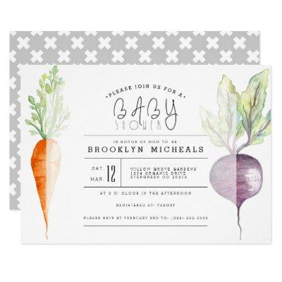 Veggie Duo | Beet & Carrot Watercolor Baby Shower Invitations