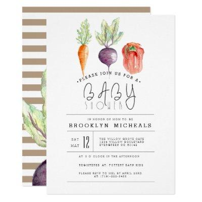 Veggie Patch | Watercolor Baby Shower Invitations