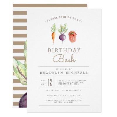 Veggie Patch | Watercolor Birthday Bash Invitation