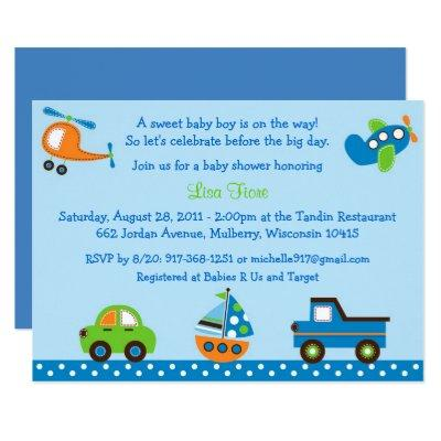 Vehicle Car Truck Baby Shower Invitations