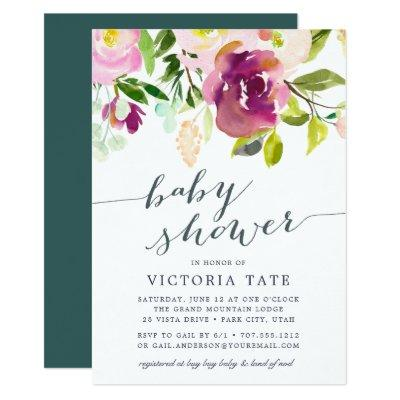 Vibrant Bloom | Watercolor Baby Shower Invitations