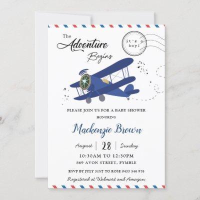 Vintage Aeroplane Plane Blue Gold Boy Baby Shower Invitation