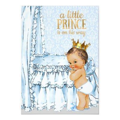 Vintage Baby Boy Prince Baby Shower Invitations Baby Shower