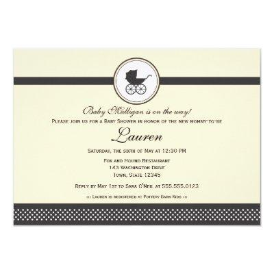Vintage Baby Carriage Baby Shower Invitation