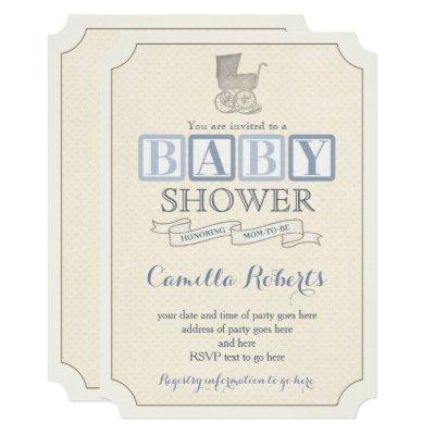 Vintage Baby Carriage Shower Invitations for Boy