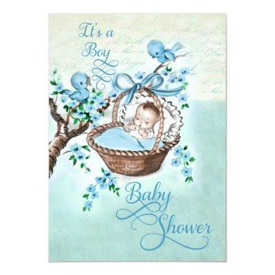 Vintage Baby in Basket and Birds Boys