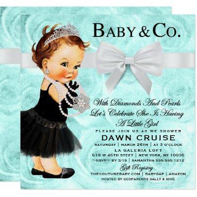 Vintage Baby Shower Blue Invitation