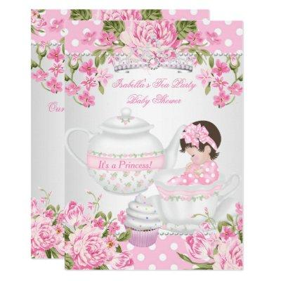 Tea party baby shower baby shower invitations baby shower invitations vintage baby shower brunette girl pink tea party invitations filmwisefo Gallery