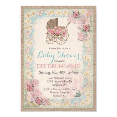 Vintage Baby Shower Carriage Floral Invitation